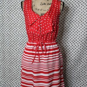 Bebop red and white striped polka dot dress